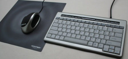 Goldtouch Ergonomic Mouse (left)with a compact S-Board Keyboard