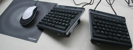 Switch Mouse (stabilizer set to left-handed) to the left of a Freestyle Keyboard (with V3 attachment)