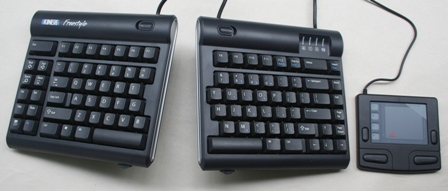 Smart Cat Pro Mouse to the right of a Freestyle Keyboard (with V3 attachment)