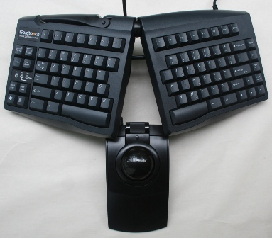L-Trac Trackball Mouse to the center of a Goldtouch Keyboard
