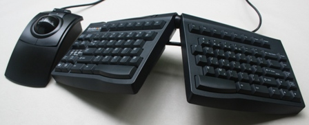 L-Trac Trackball Mouse to the left of a Goldtouch Keyboard