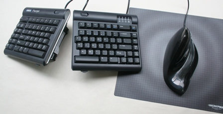 Air02Bic Mouse to the right of a Freestyle Keyboard (with V3 attachment)