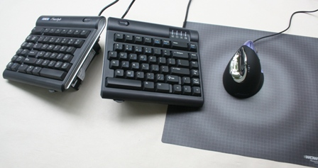 Evoluent VerticalMouse (small) to the right of a Freestyle Keyboard (with V3 attachment)