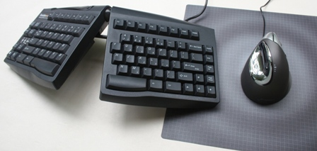 Evoluent VerticalMouse (standard) to the right of a Goldtouch Keyboard