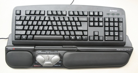 A' Style Slanted Keycap keyboard with a RollerMouse Pro2 Mouse.