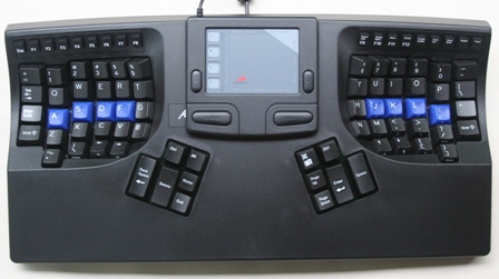 Contoured Keyboard with a Touchpad