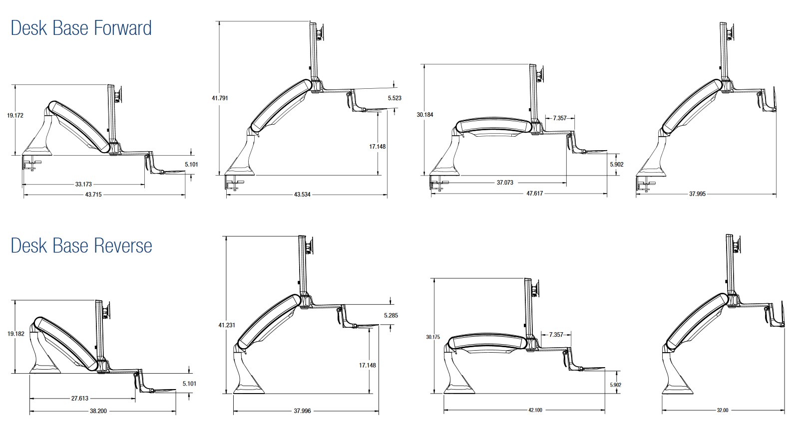 Altissimo Sit-Stand Workstation: Movement diagrams