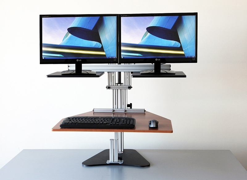 Dual Kangaroo Freestanding Adjustable Height Desk Unit - standing mode